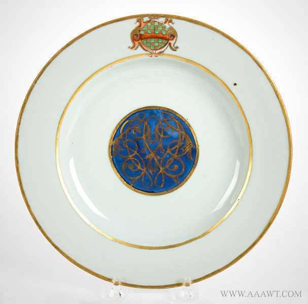 Porcelain, Chinese Export Armorial Dish, Arms of Winder
