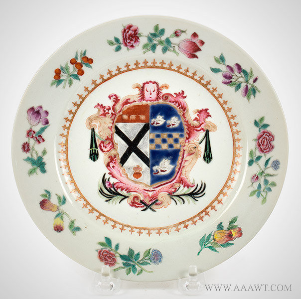 Porcelain, Chinese Export Armorial Dish, Arms of Johnstone Impaling Gordon