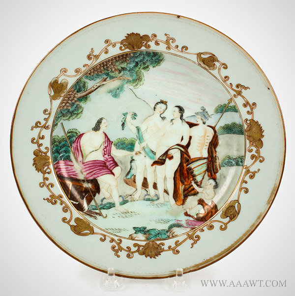 Chinese Export, Porcelain Plate, Judgment of Paris, Famille Rose Enamels Qianlong Period, Circa 1750, entire view