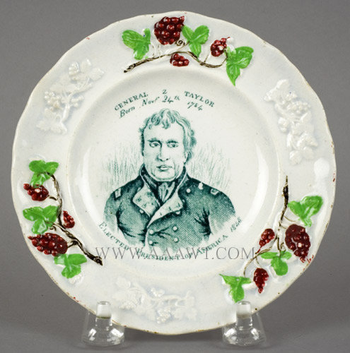 Zachary Taylor Toddy Plate, Rare 5'' Political Portrait Plate, 1848 Born Nov 24th 1784 Elected President of America 1848, entire view