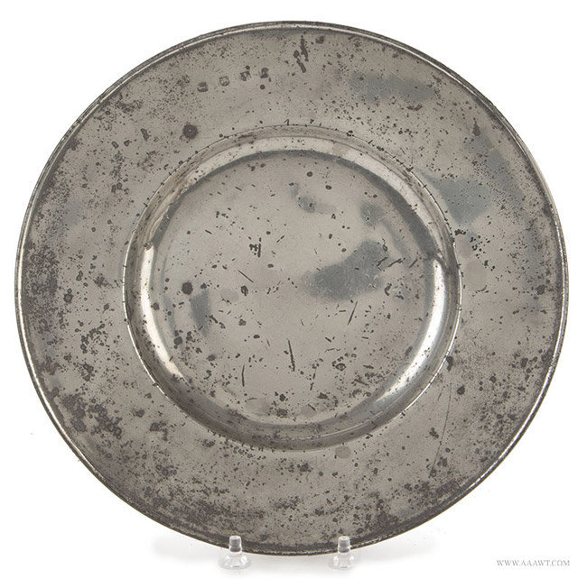 Antique Pewter Broad Rim Plate, English, Circa 1670, entire view
