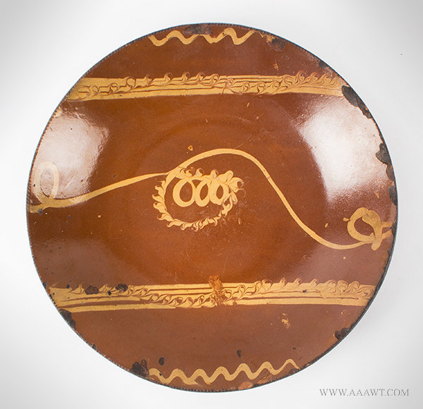 Antique Large Redware Slip Decorated Plate, Connecticut, Circa 1790, entire view