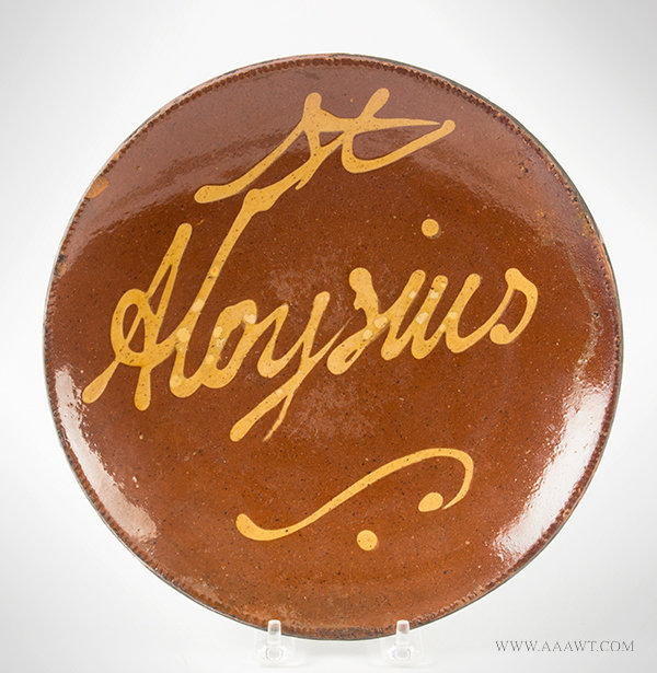 Antique Redware Plate with Coggled Rim, Inscribed St. Aloysius, Circa 1820 to 1840, entire view