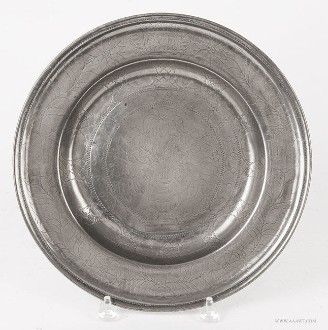 Antique Pewter Wrigglework Plate, Europe, Circa 1736, entire view