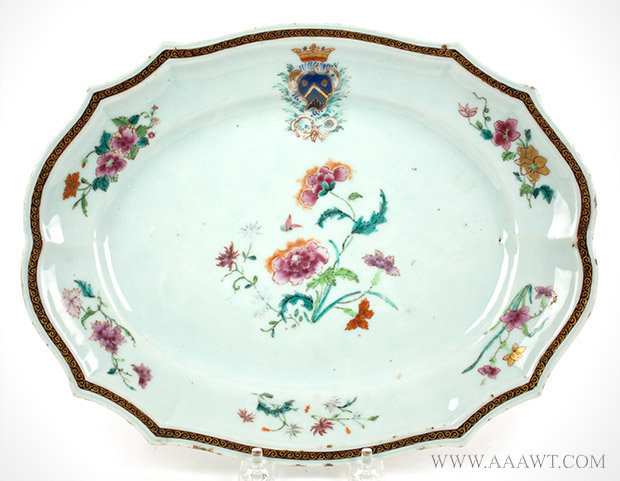 Chinese Export Armorial Platter, Arms of Bausset, French, Circa 1750 to 1760, entire view