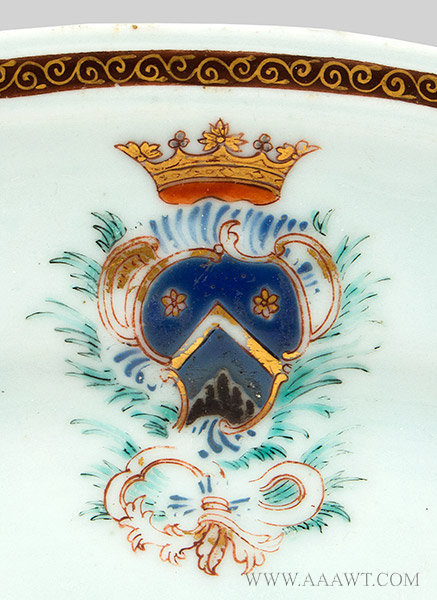 Chinese Export Armorial Platter, Arms of Bausset, French, Circa 1750 to 1760, marks detail