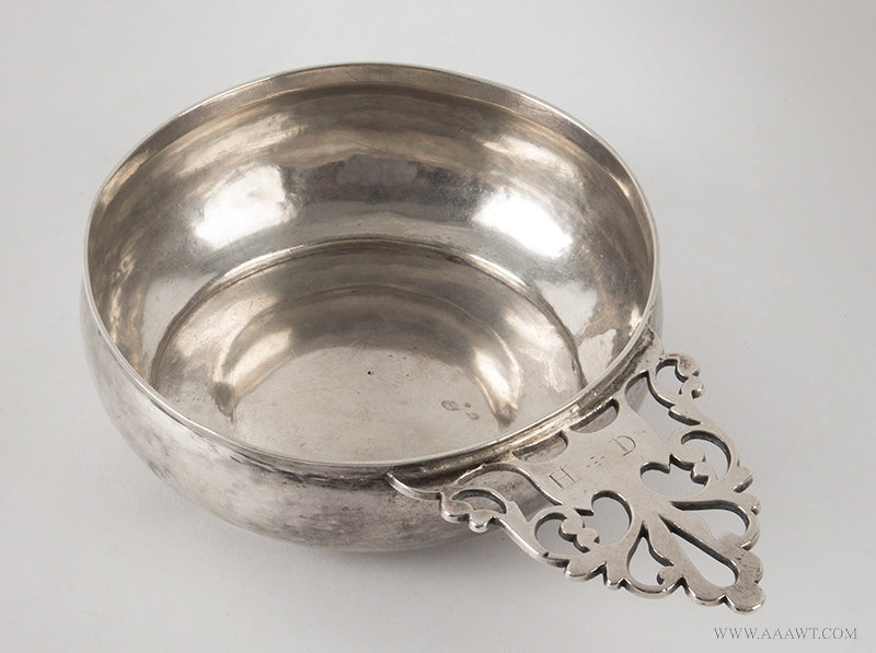 Antique Silver Porringer with Pierced Handle, Late 18th Century, angle view