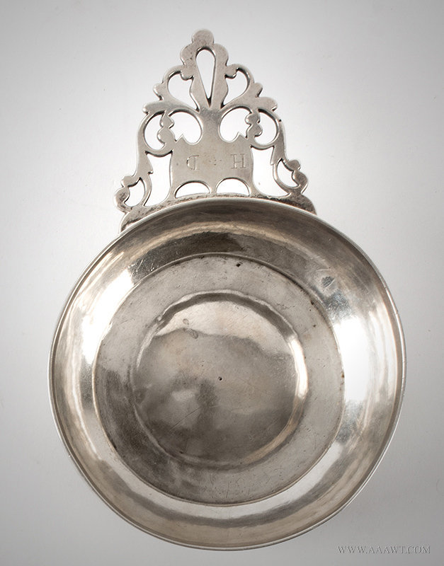 Antique Silver Porringer with Pierced Handle, Late 18th Century, entire view