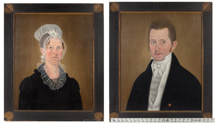 Antique Pair of Portraits by John Brewster, Lavinia and James Hall, Circa 1800 to 1810, with frames and ruler for scale