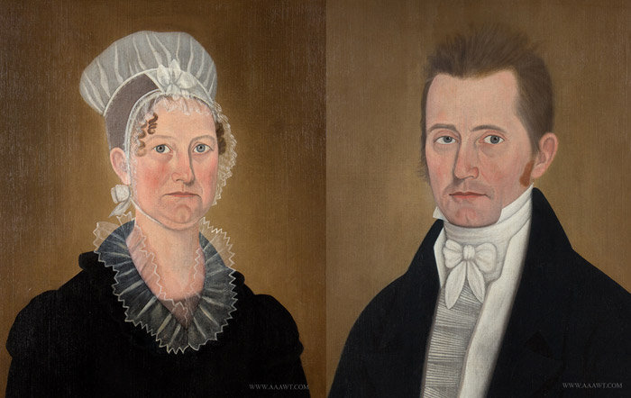 Antique Pair of Portraits by John Brewster, Lavinia and James Hall, Circa 1800 to 1810, pair view