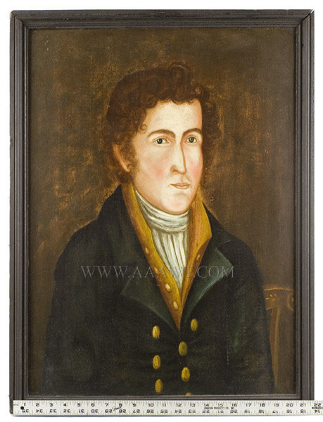 Antique Portrait of a Young Man by Asahel Lynde Powers, Circa 1825, with ruler for scale