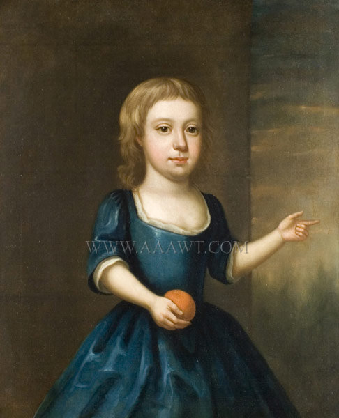 Portrait, Young Child in Blue Dress  American or English School  Anonymous  Circa 1740, entire view