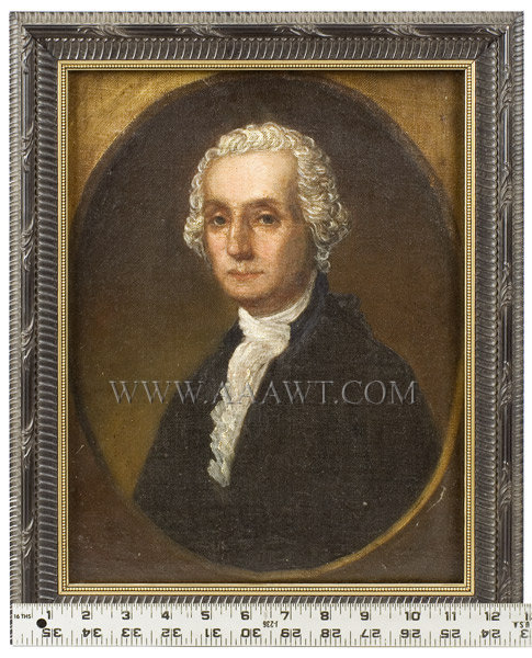 Portrait, George Washington, Bust Length, Civilian Coat    Younger Than Usually Depicted, Painted Spandrel    Circa 1790 to 1800, scale view
