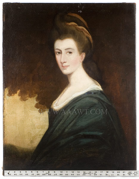 Portrait, Lady in Blue Circa 1770 to 1780, entire view