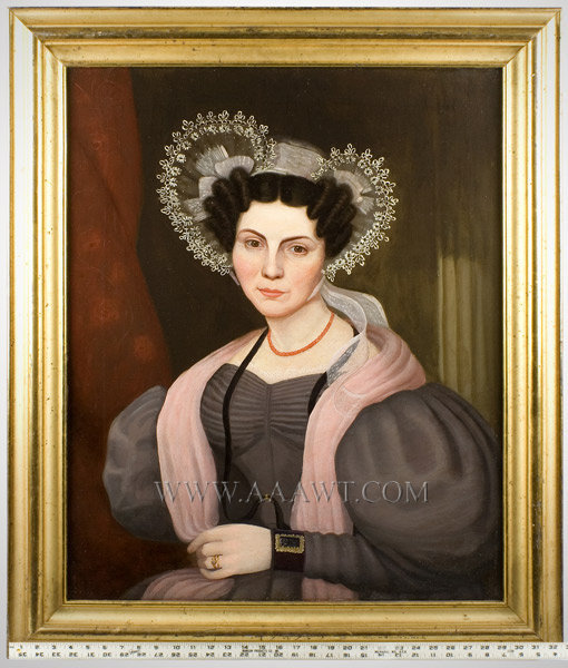 Portrait, Lady in Bonnet, Puffy Sleeves, Folk Art American School, Anonymous Circa 1830's, scale view