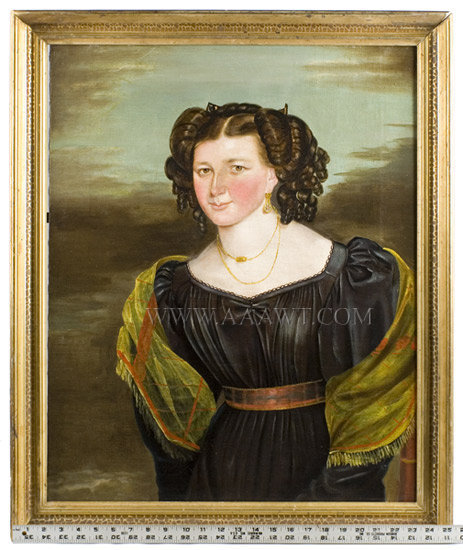 Folk Art Portrait, Young Lady, American School, William Bonnell Signed William Bonnell, Pinxt 1830 Hunterdon County, New Jersey, entire view