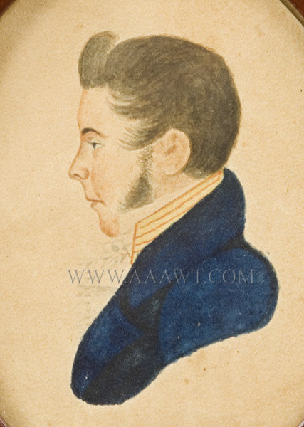 Portrait of Handsome Gentleman, Profile, Blue Coat, Red Collar  New England  Anonymous  Early 19th Century, entire view