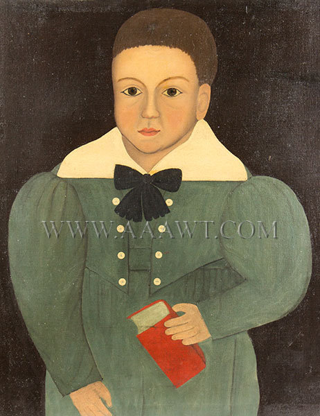 Antique Folk Art Portrait of Boy Holding Red Book, 19th Century, close up view