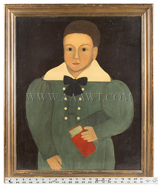 Antique Folk Art Portrait of Boy Holding Red Book, 19th Century, with ruler for scale