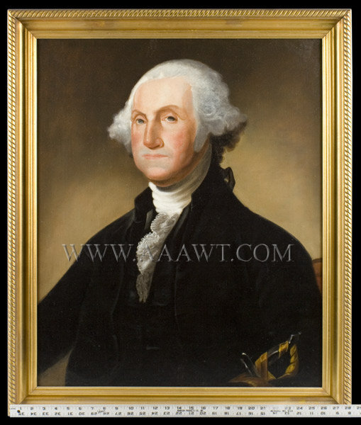 George Washington Portrait, Civilian Dress, Depicted With Sword