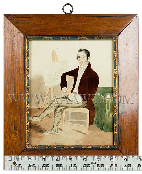 Portrait of Gentleman Artist at Easel with Paint Palette, Watercolor  Anonymous  19th Century, entire view