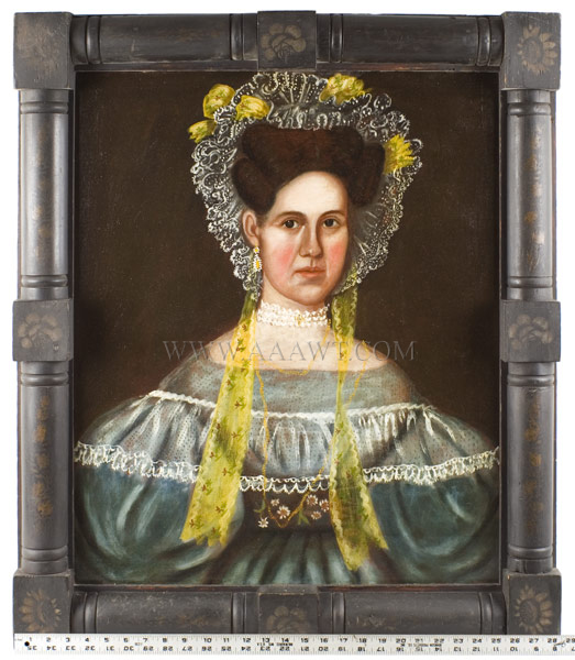Folk Art Portrait of Lady Wearing Bonnet with Yellow Ribbons, Puffy Sleeves Likely by the combined hands of John Grout and Ruth Whittier Shute Circa 1835, scale view