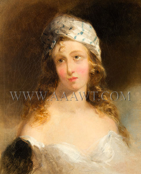 Portrait of a Woman, Probably Fanny Kemble Attributed to Thomas Sully (American, 1783 to 1872) Circa 1840s, entire view