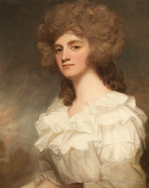 Antique Portrait of Anne Morley, By George Romney, 1787, close up view