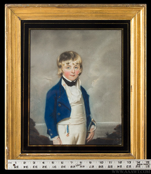 Antique Pastel Portrait of Boy in Midshipman Uniform, 19th Century, with ruler for scale
