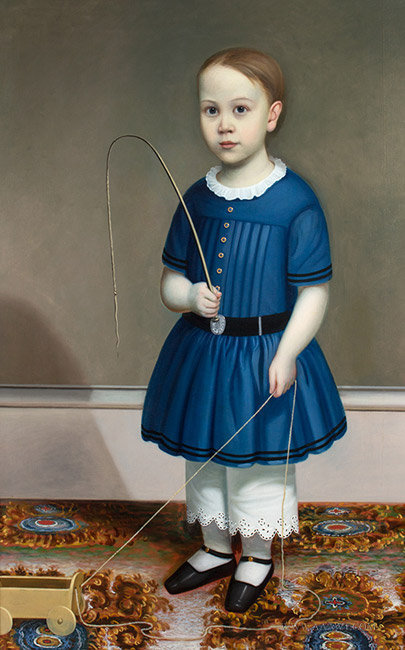 Antique Full Length Portrait of a Boy in Blue, Attributed to Joseph Whiting Stock, Circa 1845, close up view