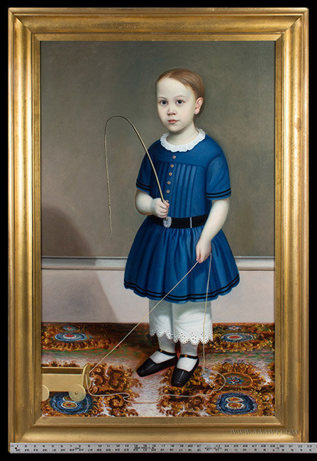 Antique Full Length Portrait of a Boy in Blue, Attributed to Joseph Whiting Stock, Circa 1845, with ruler for scale