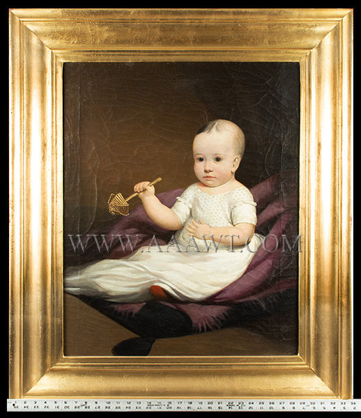 Folk Portrait of Child in White Dress, Full Length Seated  In the Circle of Ezra Ames (Albany)  New York  Circa 1830, entire view