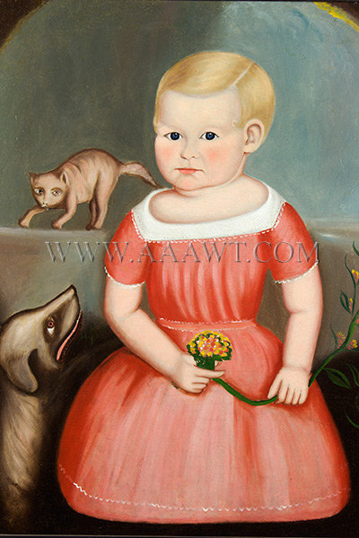 Portrait, Child with Dog and Cat, American School, Full Length Folk Portrait  Anonymous, Possibly Southern, 19th Century, entire view