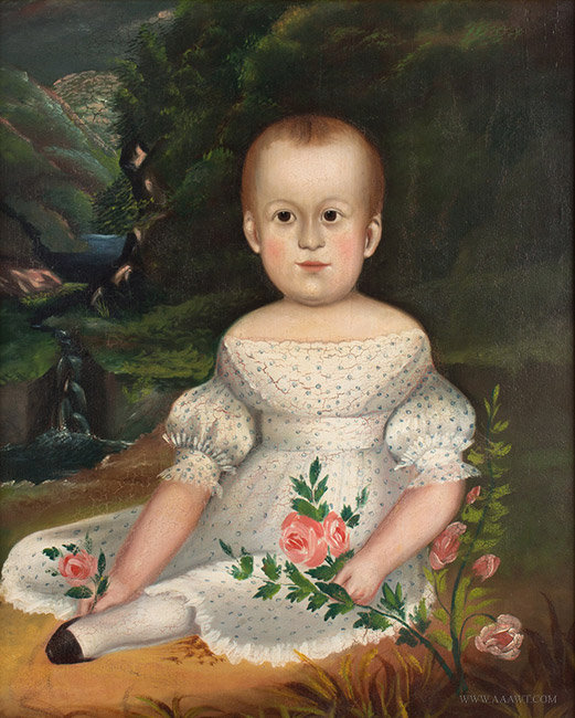 Antique Folk Art Portrait of Child in White Dress, Circa 1830 to 1840, close up view