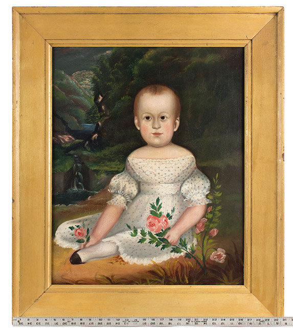Antique Folk Art Portrait of Child in White Dress, Circa 1830 to 1840, with ruler for scale