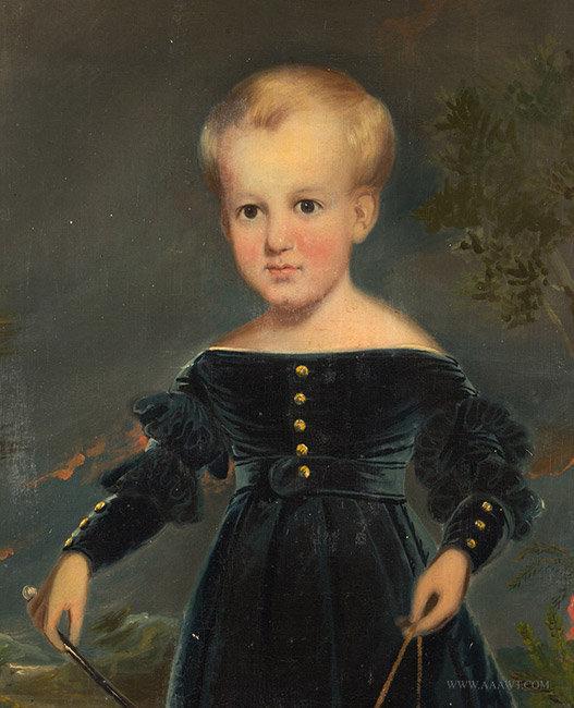 Antique Portrait of Devillo White Corbin, by Tompkins Harrison Matteson, close up detail