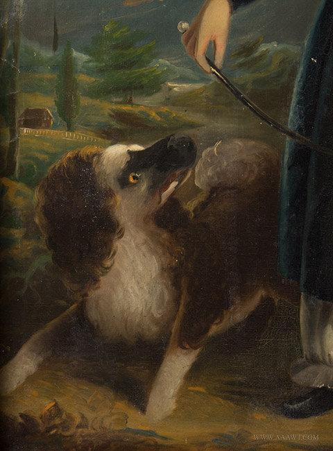 Antique Portrait of Devillo White Corbin, by Tompkins Harrison Matteson, dog detail