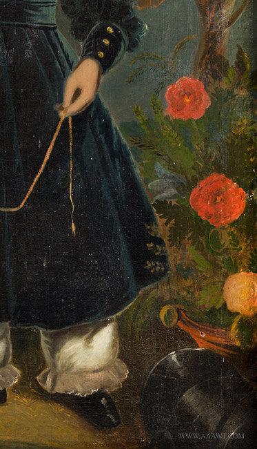 Antique Portrait of Devillo White Corbin, by Tompkins Harrison Matteson, flowers detail