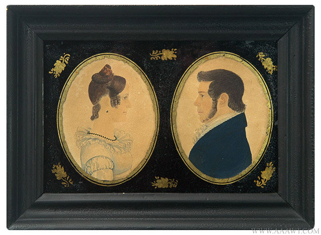 Antique Rufus Porter Double Profile Portraits of Husband and Wife, Circa 1825 entire view