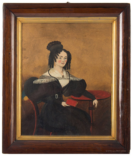 Antique Portrait of a Lady at a Tea Table, British School, Late 1830's, entire view