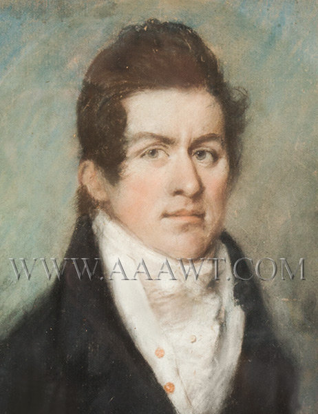 Pastel Portrait of Gentleman, Carved and Parcel Gilt China Trade Frame Early 19th Century, entire view