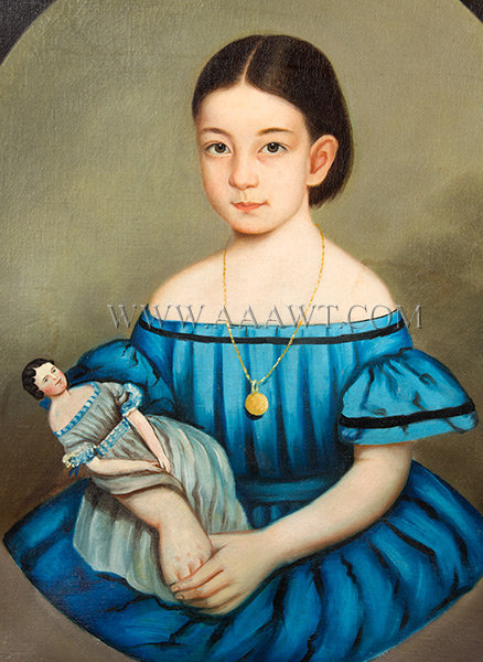 Portrait of Little Girl Holding Doll, Folk Art  New England, Anonymous  Mid Nineteenth Century, entire view