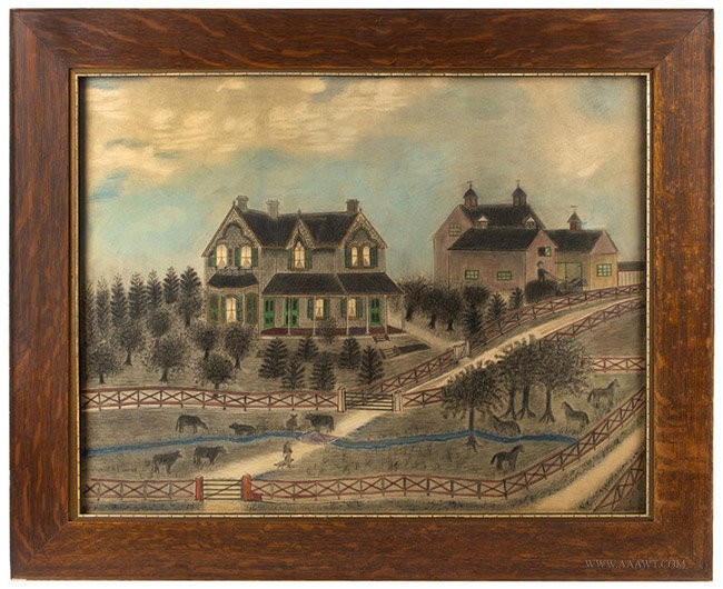 Antique Folksy Farm Scene Painting, Anonymous, Late 19th Century, entire view