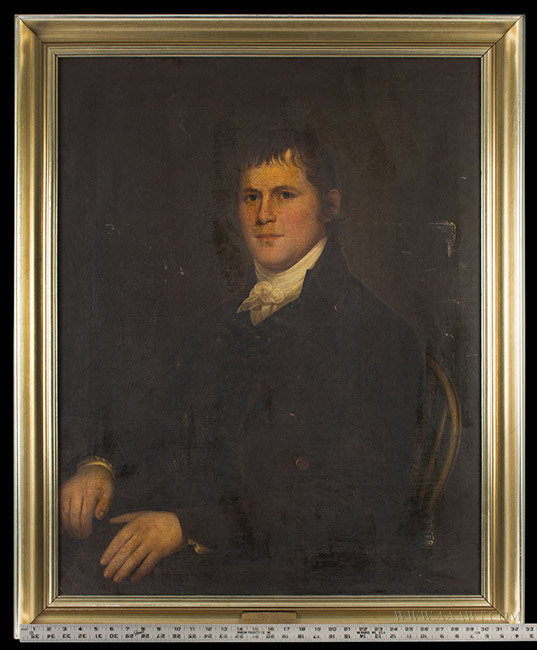 Antique Portrait of Michael Fox, 1st President of the Fire Association of Philadelphia, Circa 1820, with ruler for scale