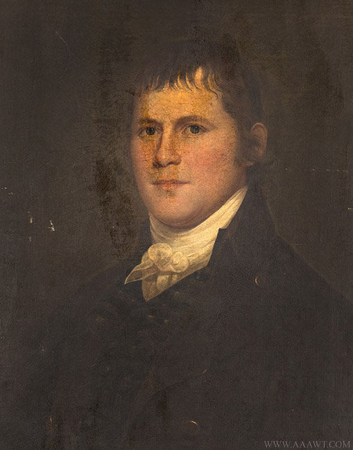 Antique Portrait of Michael Fox, 1st President of the Fire Association of Philadelphia, Circa 1820, close up view