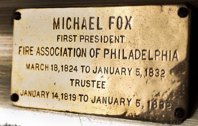 Antique Portrait of Michael Fox, 1st President of the Fire Association of Philadelphia, Circa 1820, plaque detail