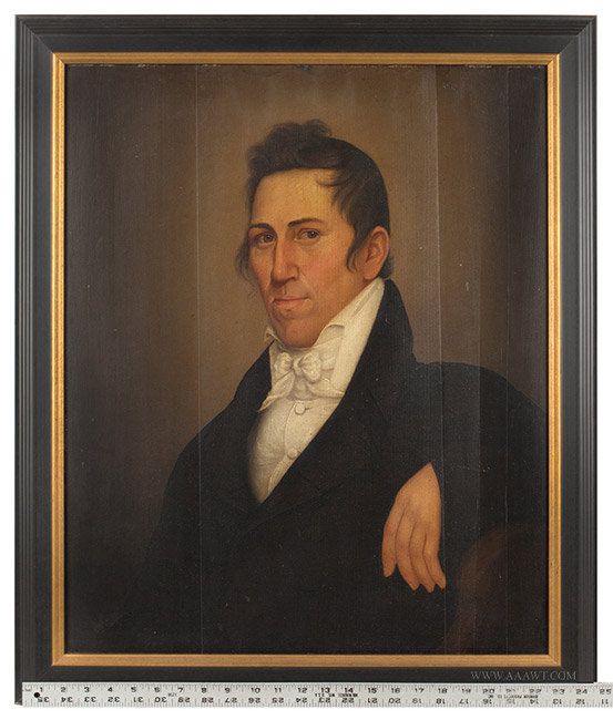 Antique Federal Period Portrait of a Handsome Gentleman, American School, with ruler for scale