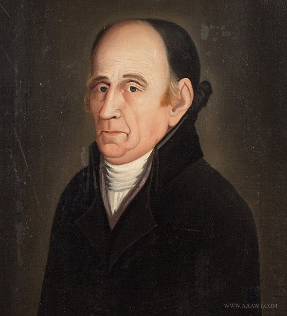 Antique Portrait of Man in White Collar, Anonymous, Circa 1800, close up view