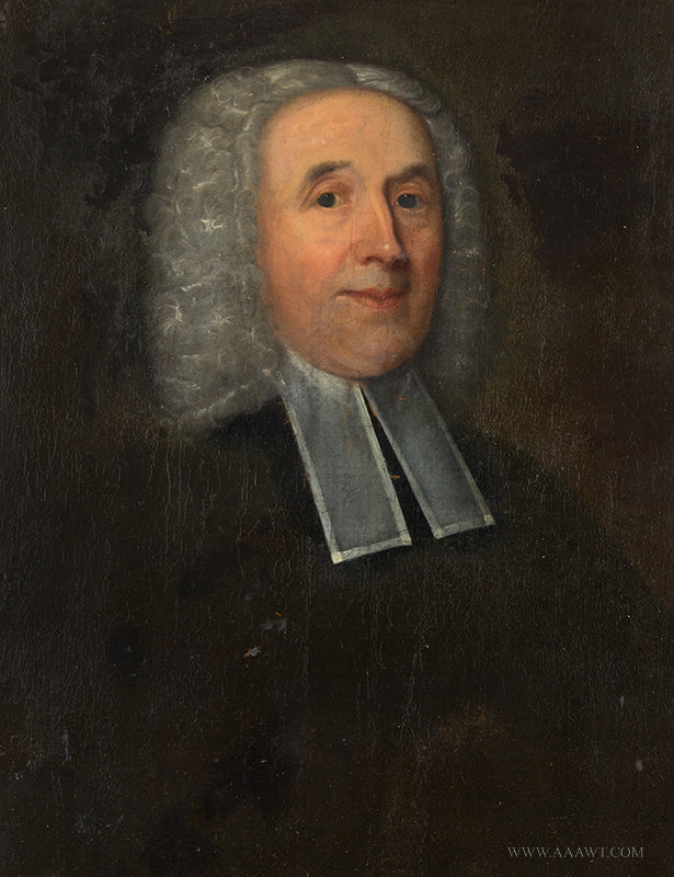 Antique Portrait of Clergyman Wearing Preaching Bands, 18th Century, close up view