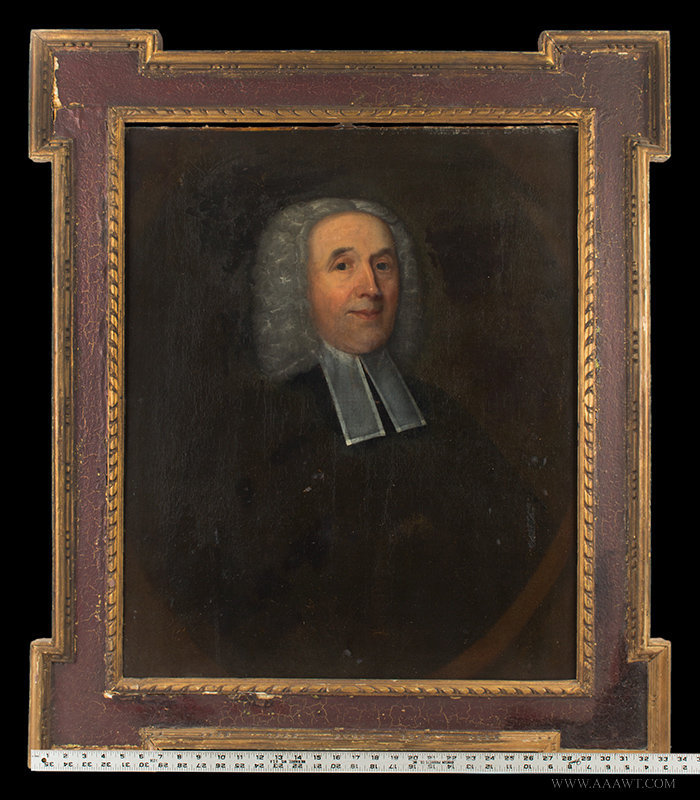 Antique Portrait of Clergyman Wearing Preaching Bands, 18th Century, with ruler for scale